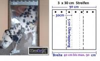 Hundetür aus 3 Streifen 3mm transparent, abgerundete Kanten