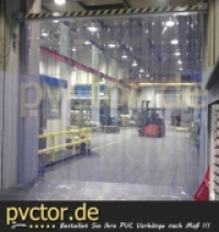 Fertiger Vorhang als Lamellentor, für Bandtore als Streifentor / PVC klar transparent