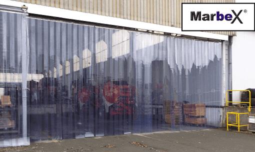 Vorhang aus transparent Gummi Plastik Kunststoff